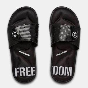 Under Armour slides  black new nwt foam soles
